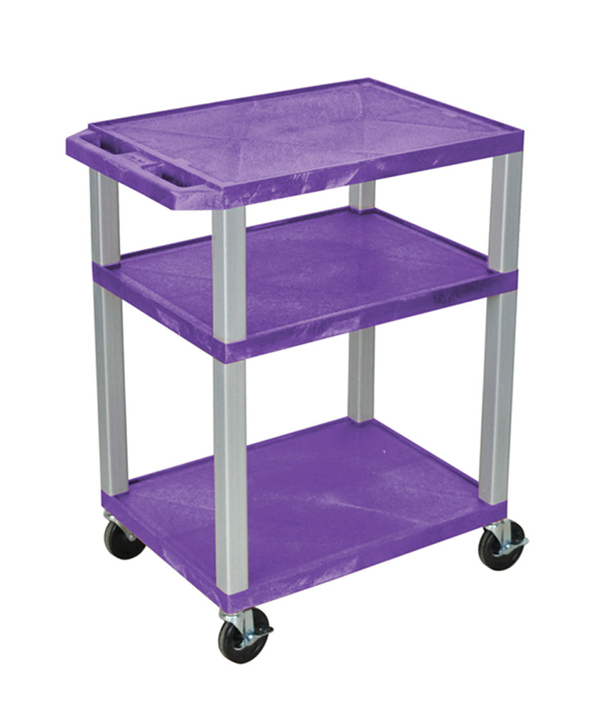 Offex Purple Multipurpose Tuffy Cart 34 with Gray Legs
