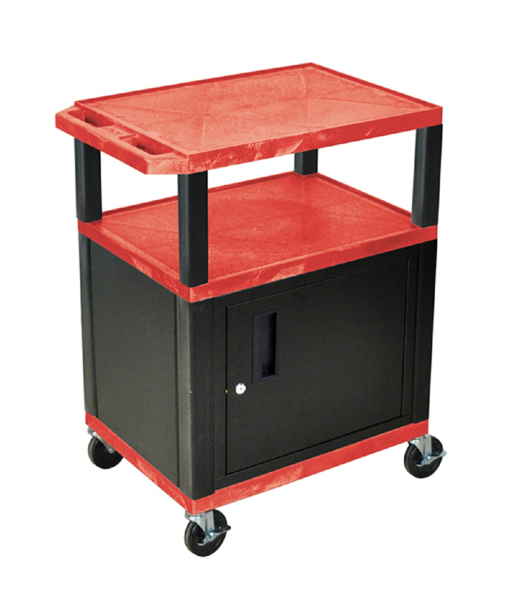Offex 34 H Tuffy AV Cart With Storage Shelf, Lockable Cabinet, Electric, Heavy Duty Casters - Red