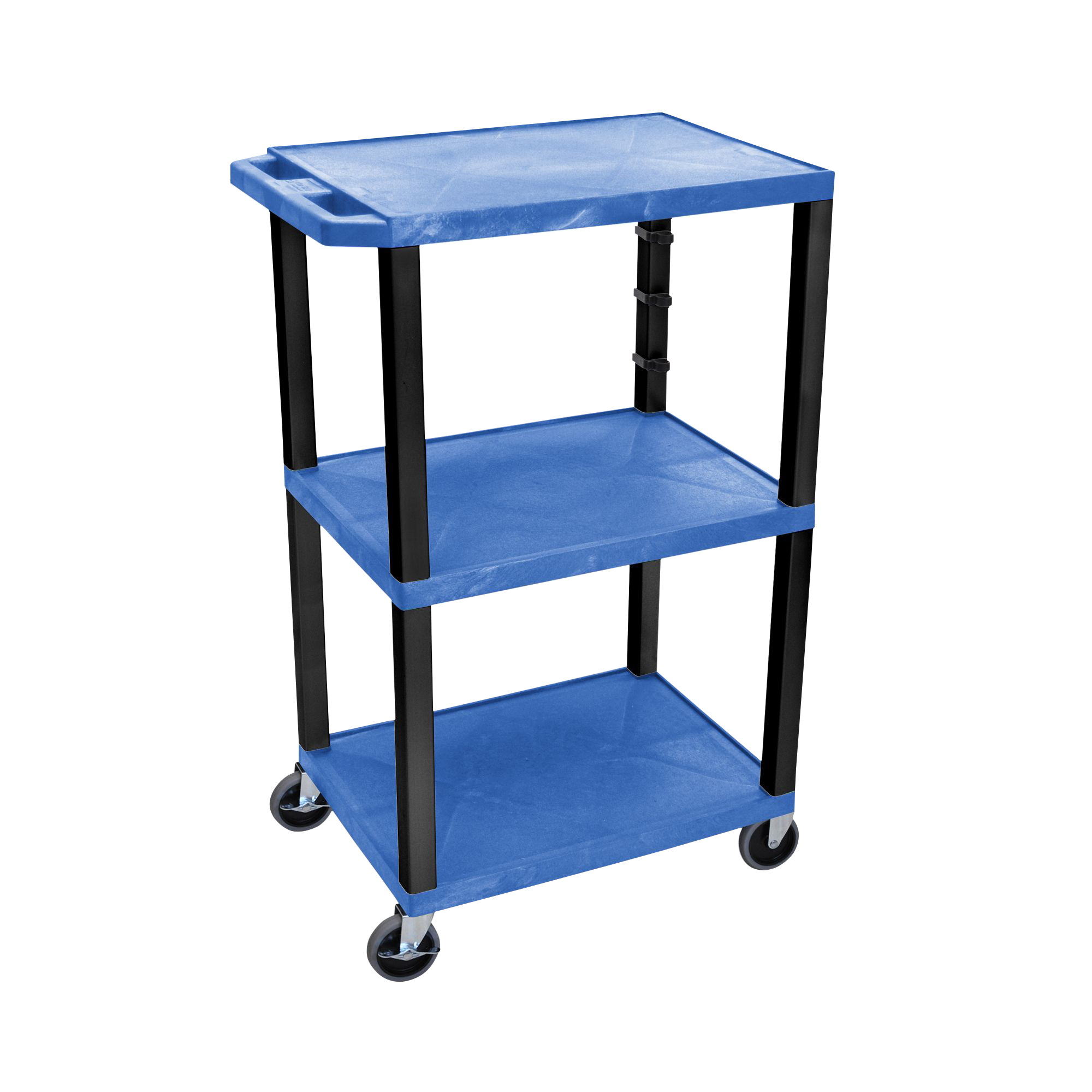 Offex Blue Tuffy Cart 3 Shelves Black Legs