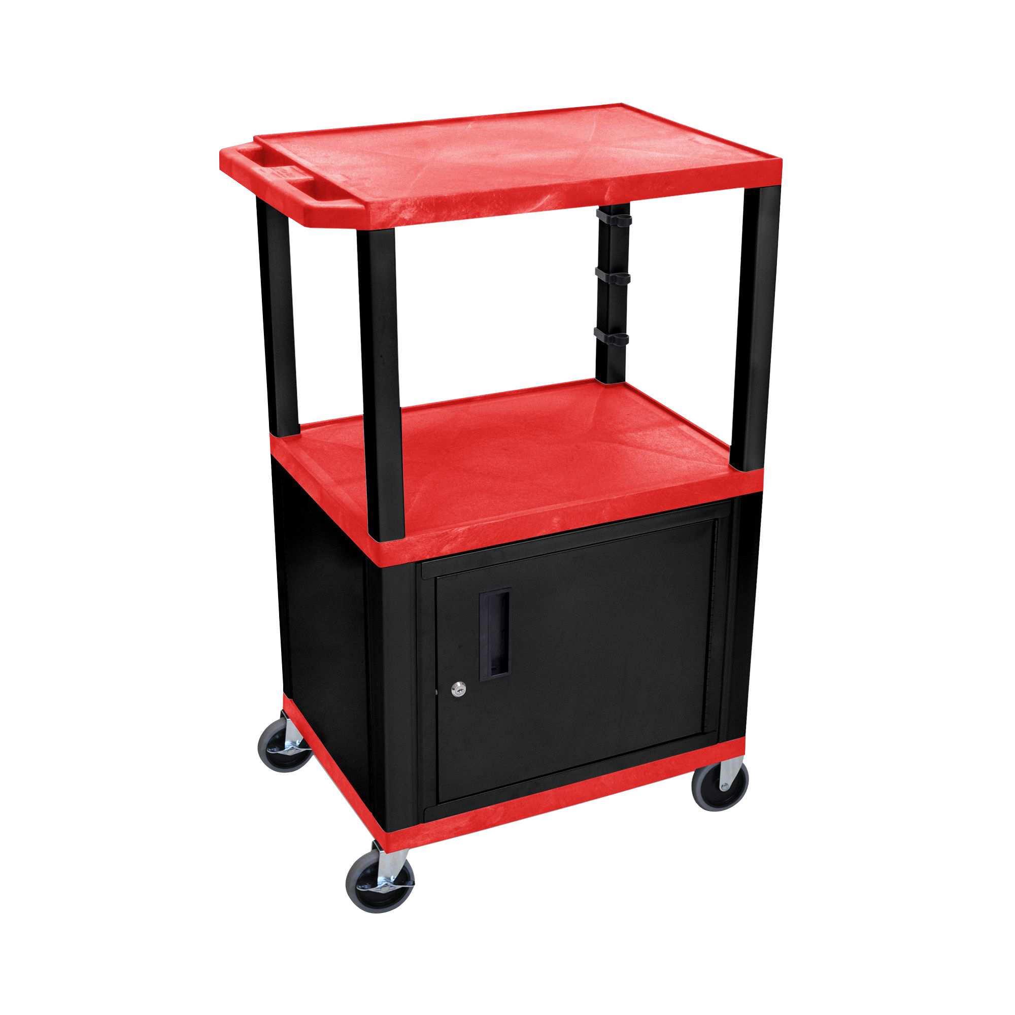 Offex Red Cart with Black Cabinet 24 W x 18 D x 42.5 H