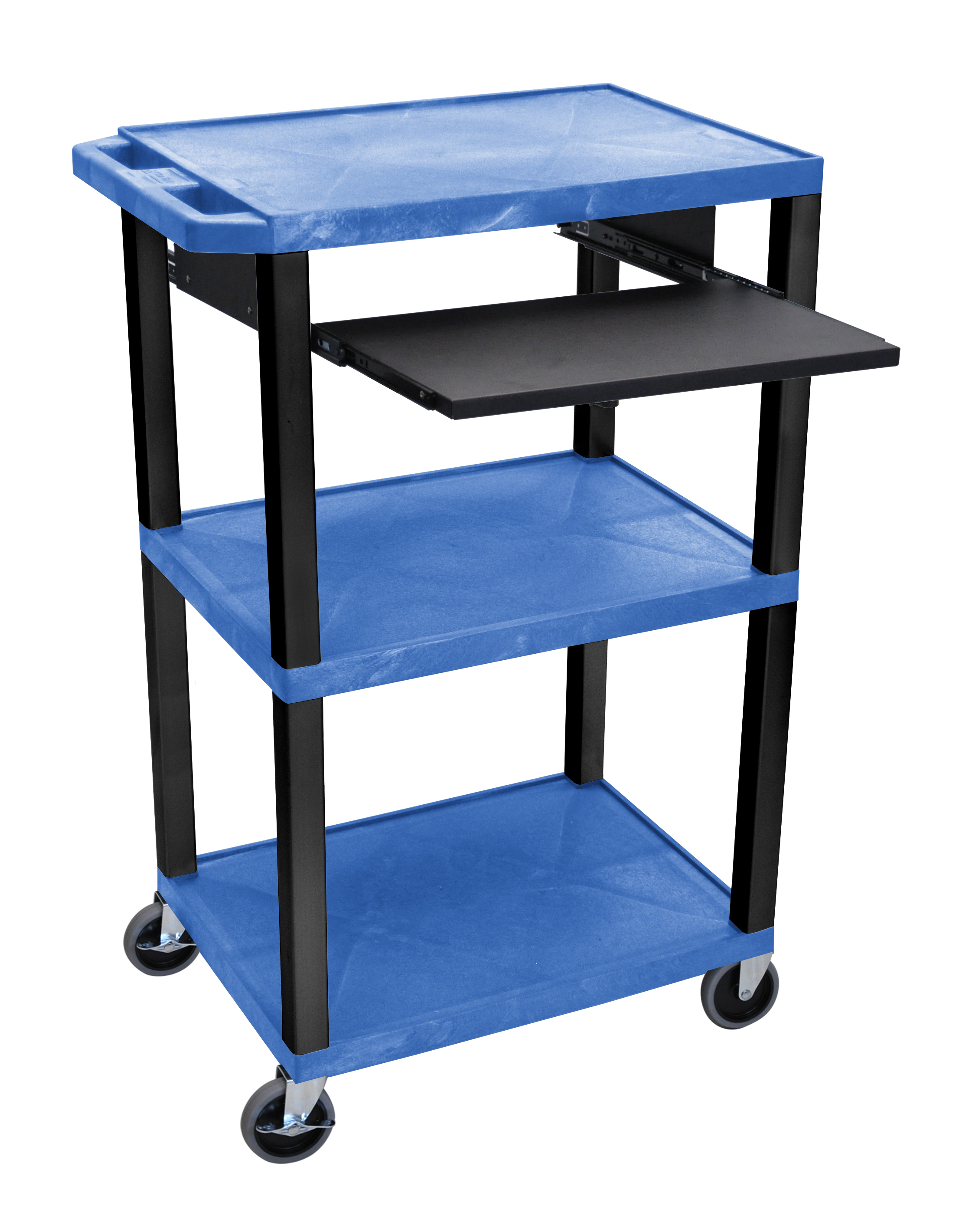Offex Presentation Cart with Open Shelves and Pull Out Tray Blue and Black