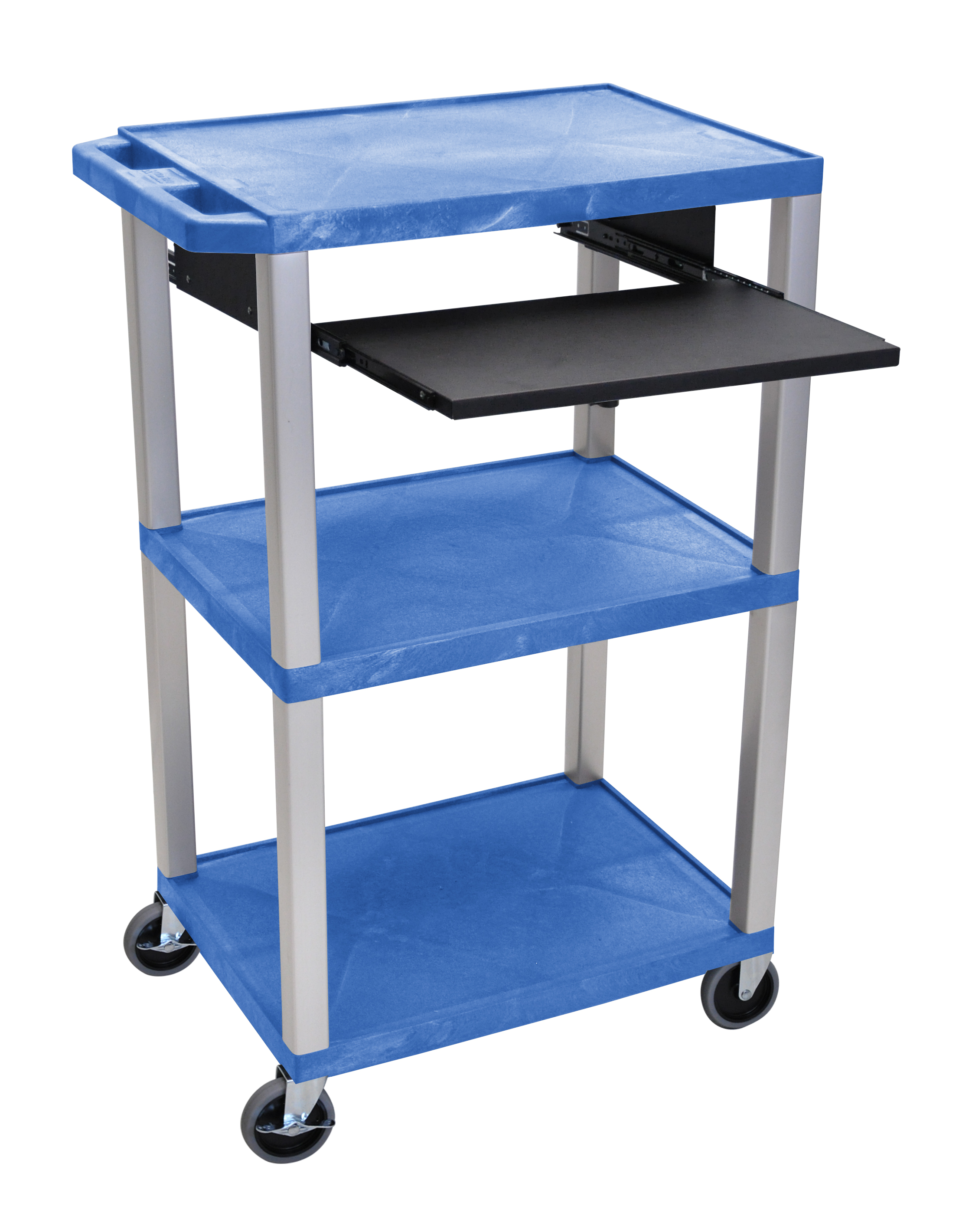 Offex Presentation Cart with Open Shelves and Pull Out Tray Blue and Nickel
