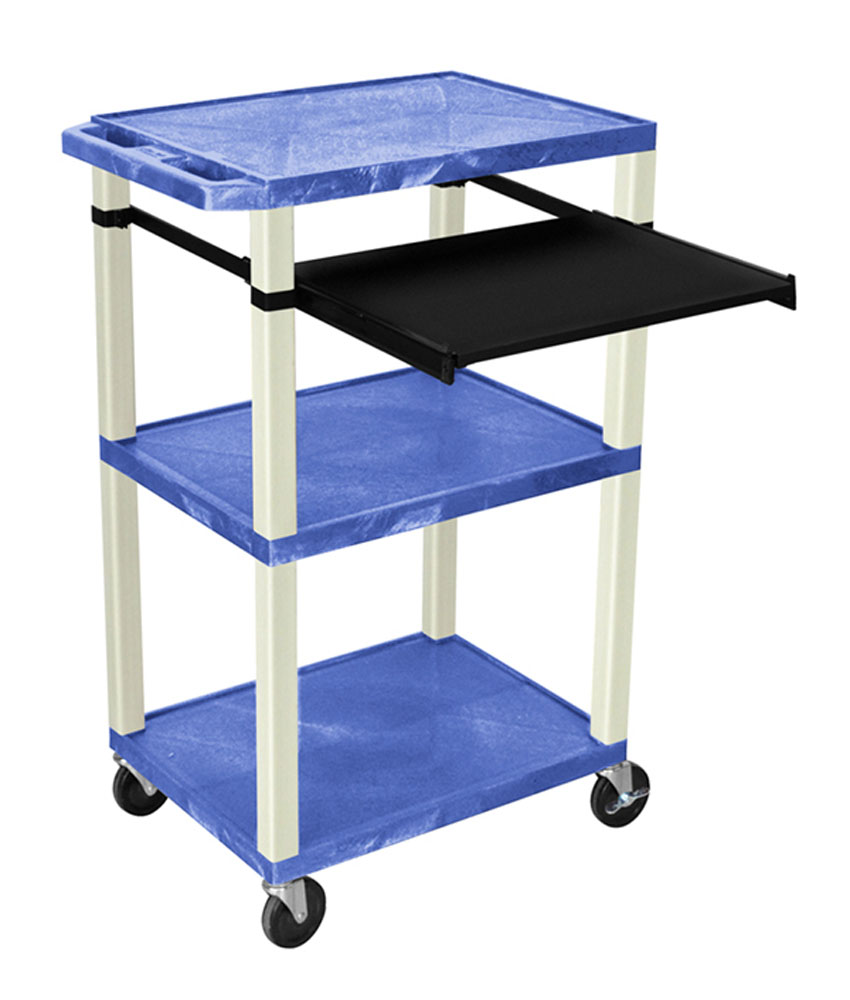 Offex Presentation Cart with Open Shelves and Pull Out Tray Blue and Putty