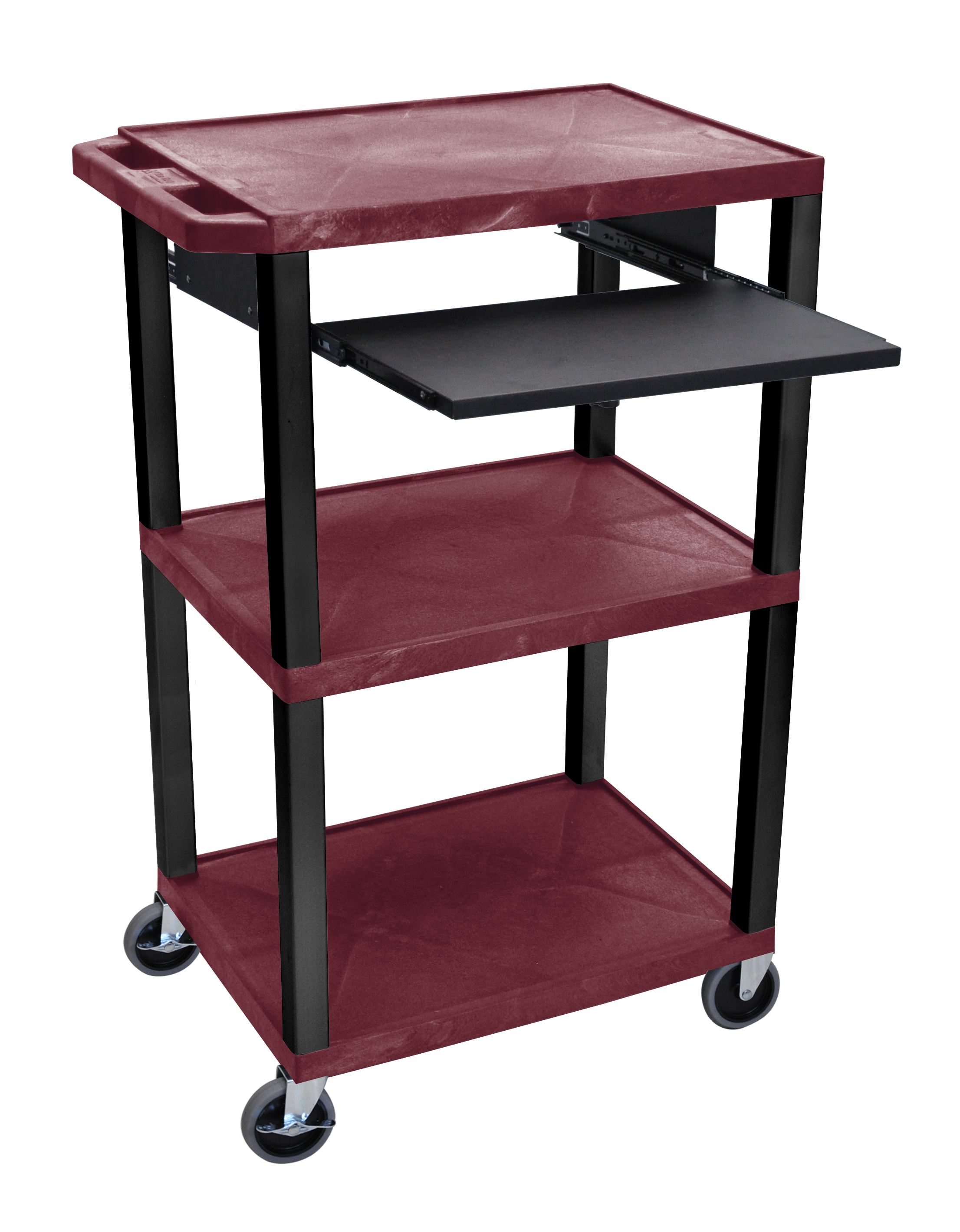 Offex Presentation Cart with Open Shelves and Pull Out Tray Burgundy and Black