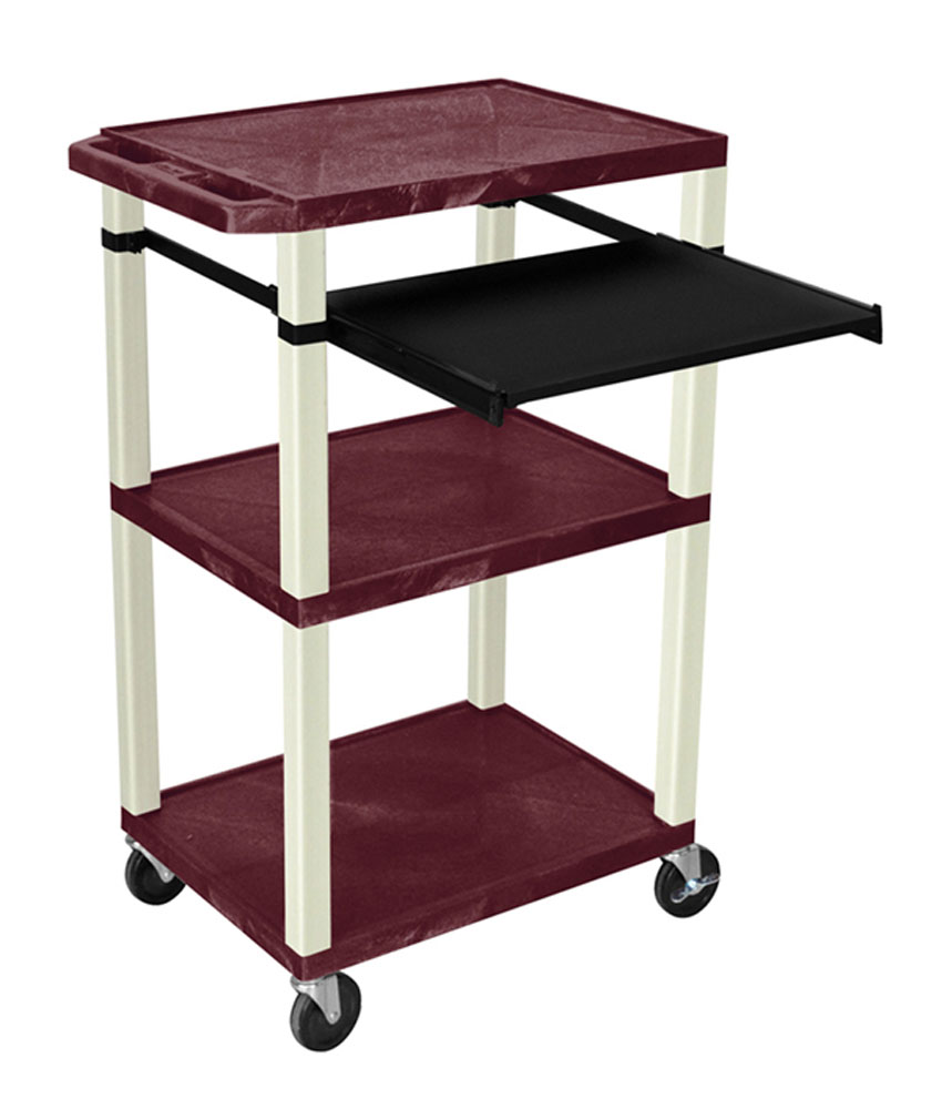 Offex Presentation Cart with Open Shelves and Pull Out Tray Burgundy and Putty