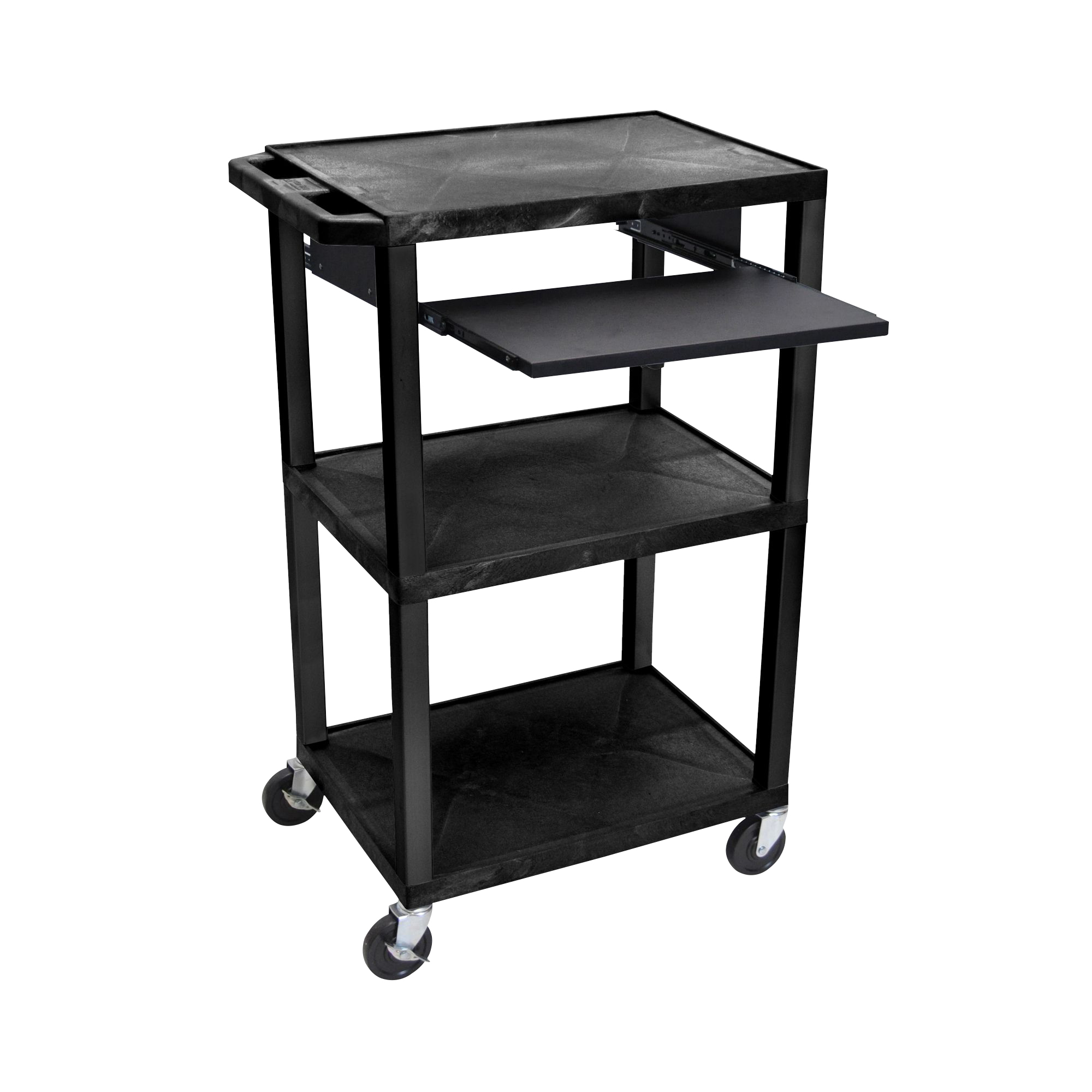 Offex Presentation Cart with Open Shelves and Pull Out Tray Black