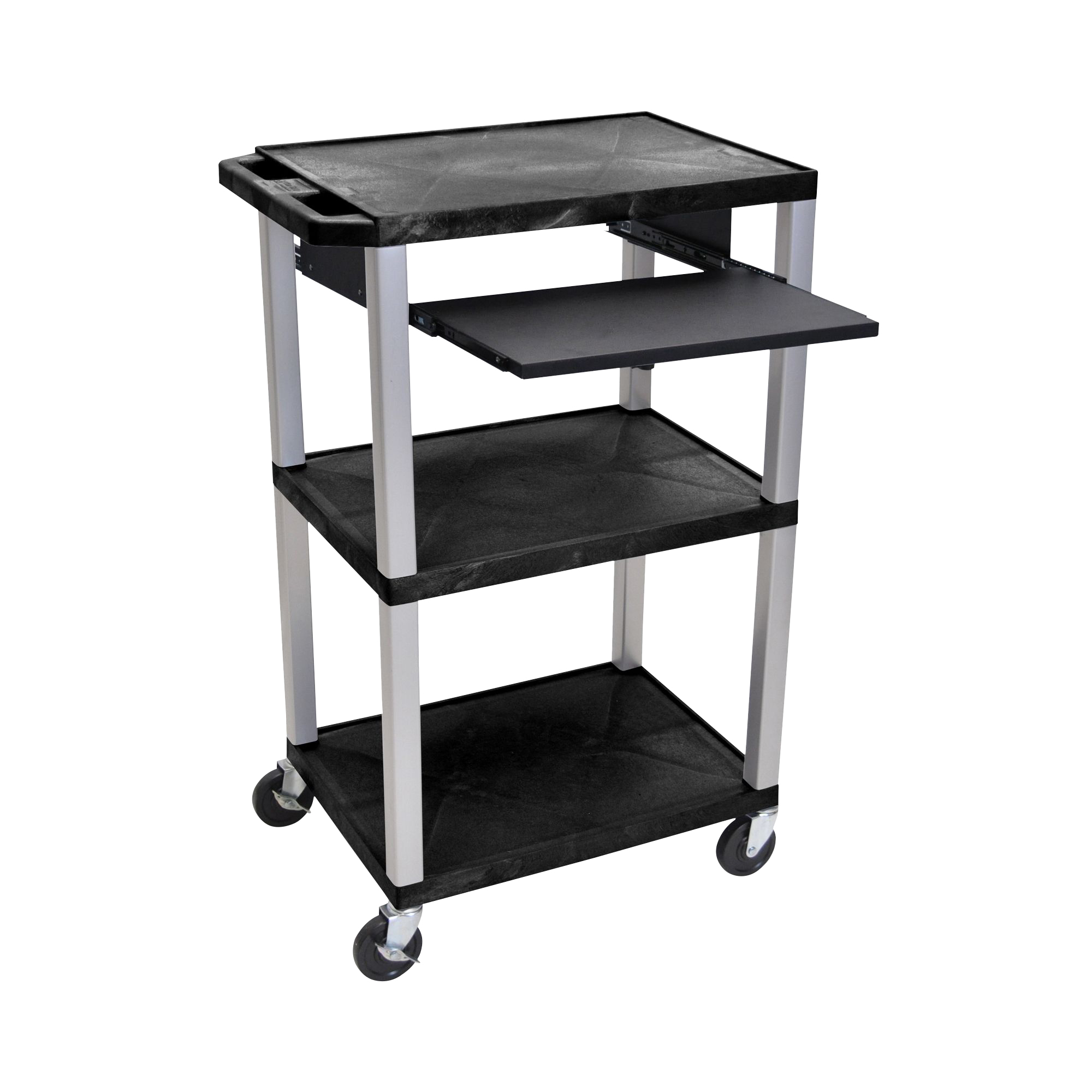Offex Presentation Cart with Open Shelves and Pull Out Tray Black and Nickel