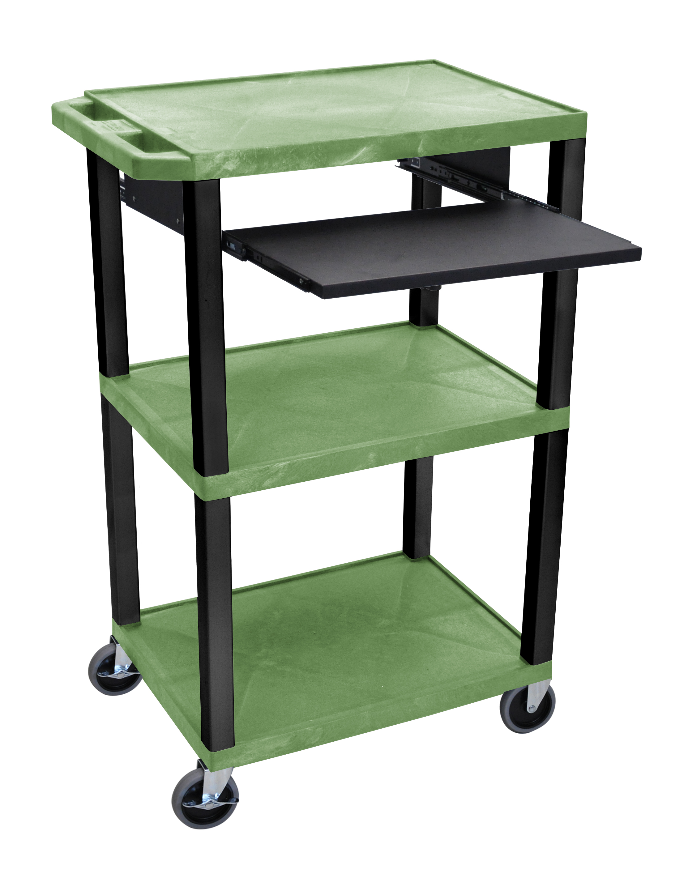 Offex Presentation Cart with Open Shelves and Pull Out Tray Green and Black