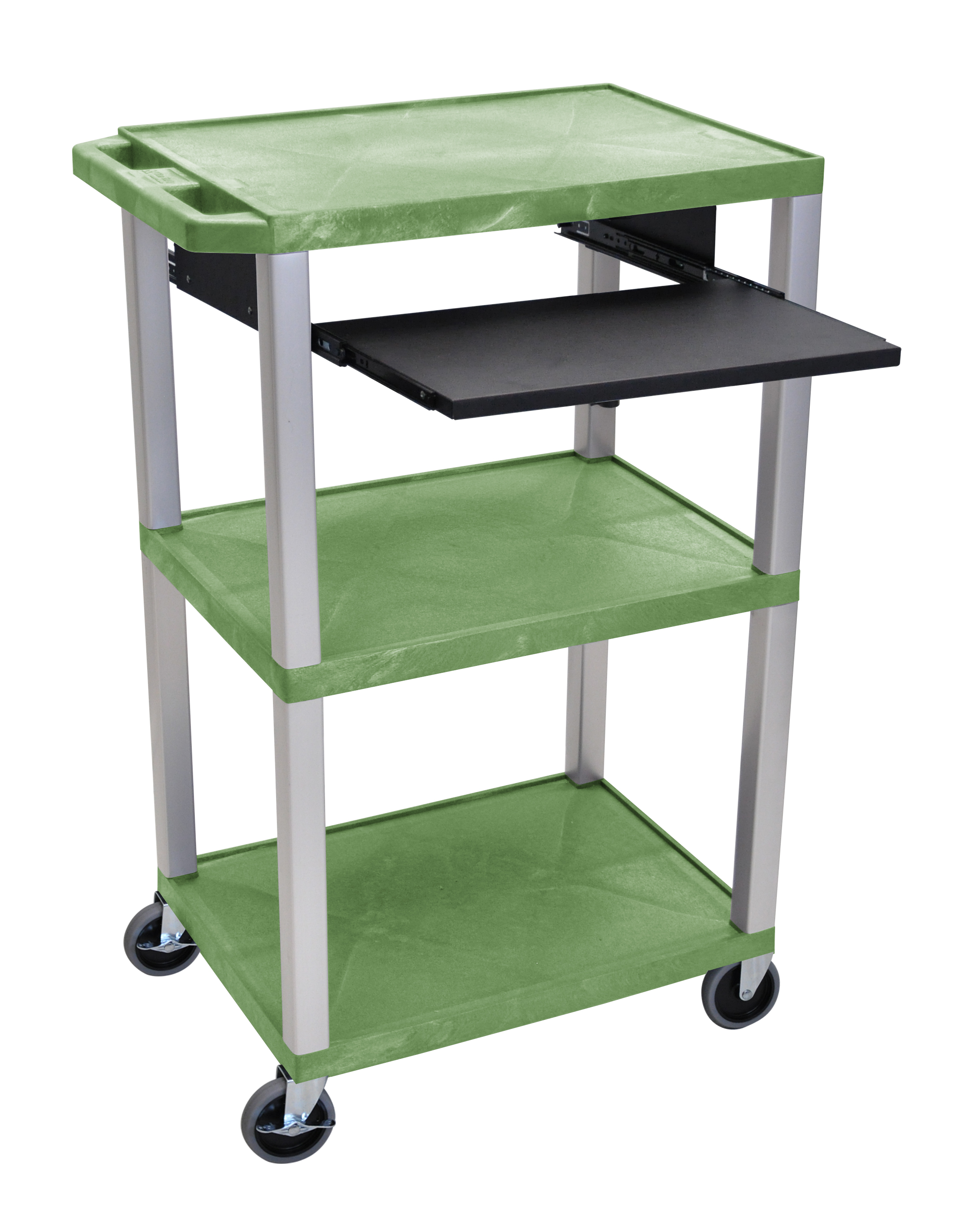 Offex Presentation Cart with Open Shelves and Pull Out Tray Green and Nickel