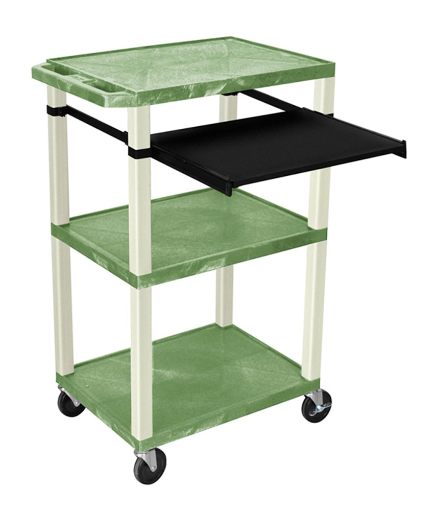Offex Presentation Cart with Open Shelves and Pull Out Tray Green and Putty