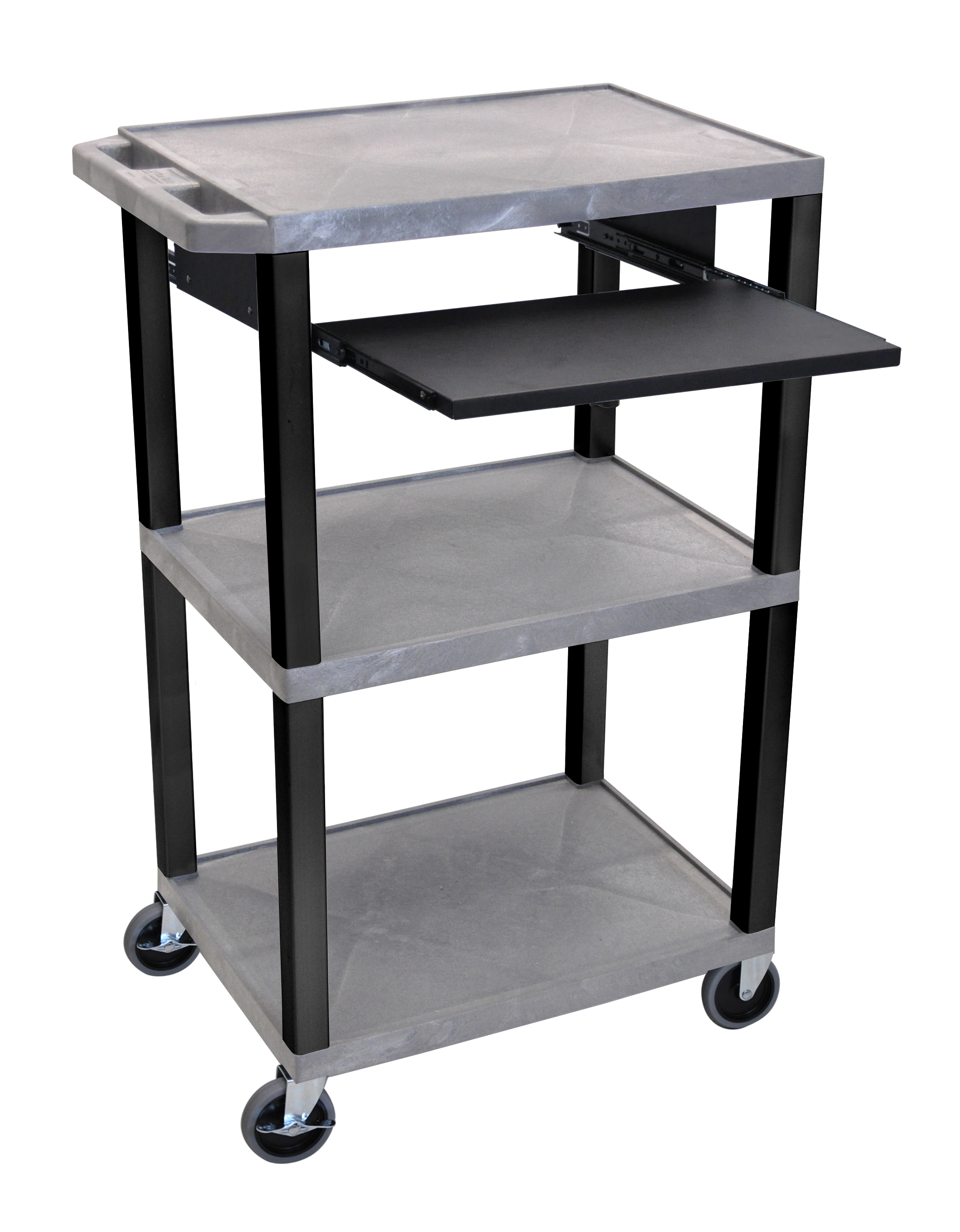 Offex Presentation Cart with Open Shelves and Pull Out Tray Gray and Black
