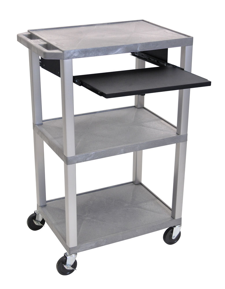 Offex Presentation Cart with Open Shelves and Pull Out Tray Gray and Nickel