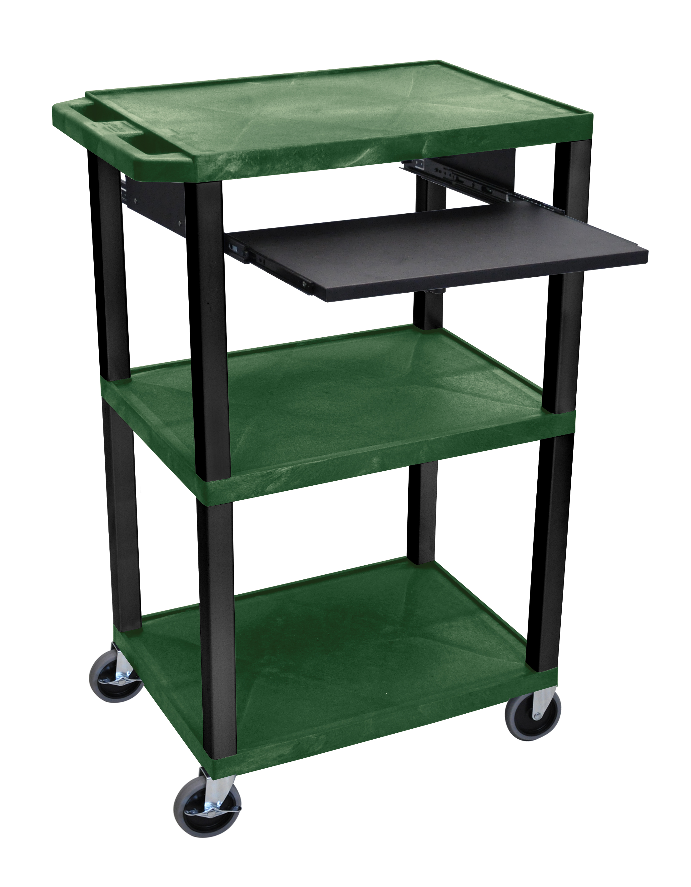 Offex Presentation Cart with Open Shelves and Pull Out Tray Hunter Green and Black