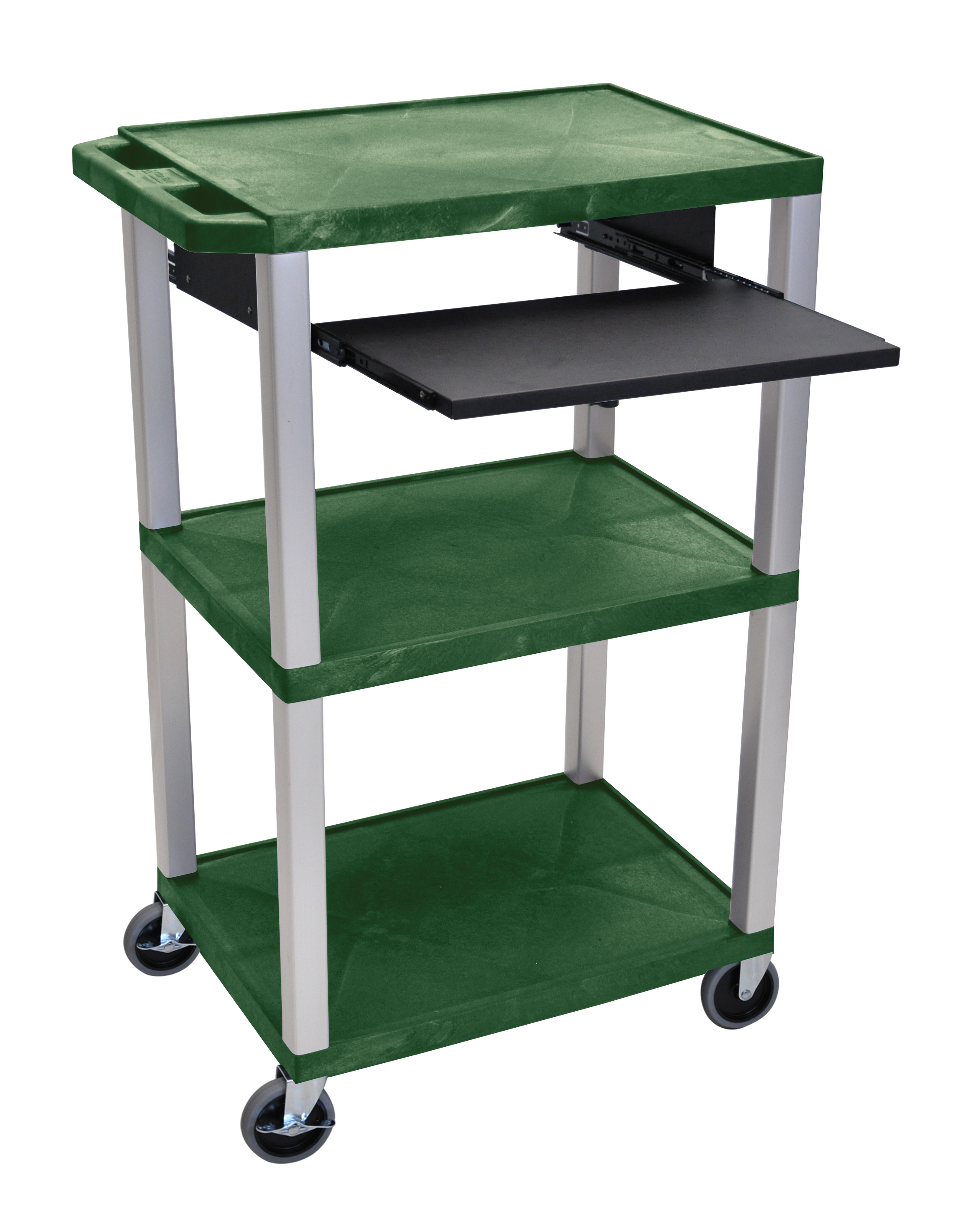 Offex Presentation Cart with Open Shelves and Pull Out Tray Hunter Green and Nickel