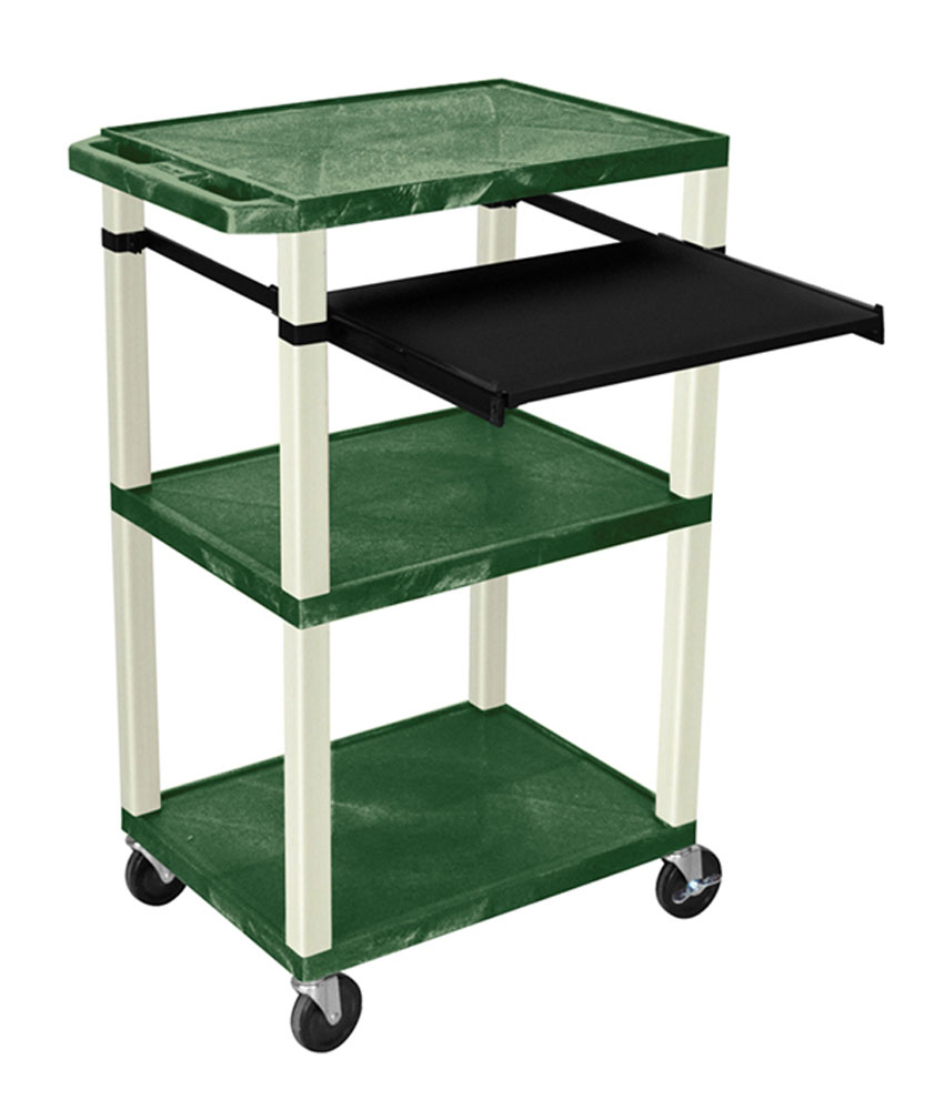 Offex Presentation Cart with Open Shelves and Pull Out Tray Hunter Green and Putty