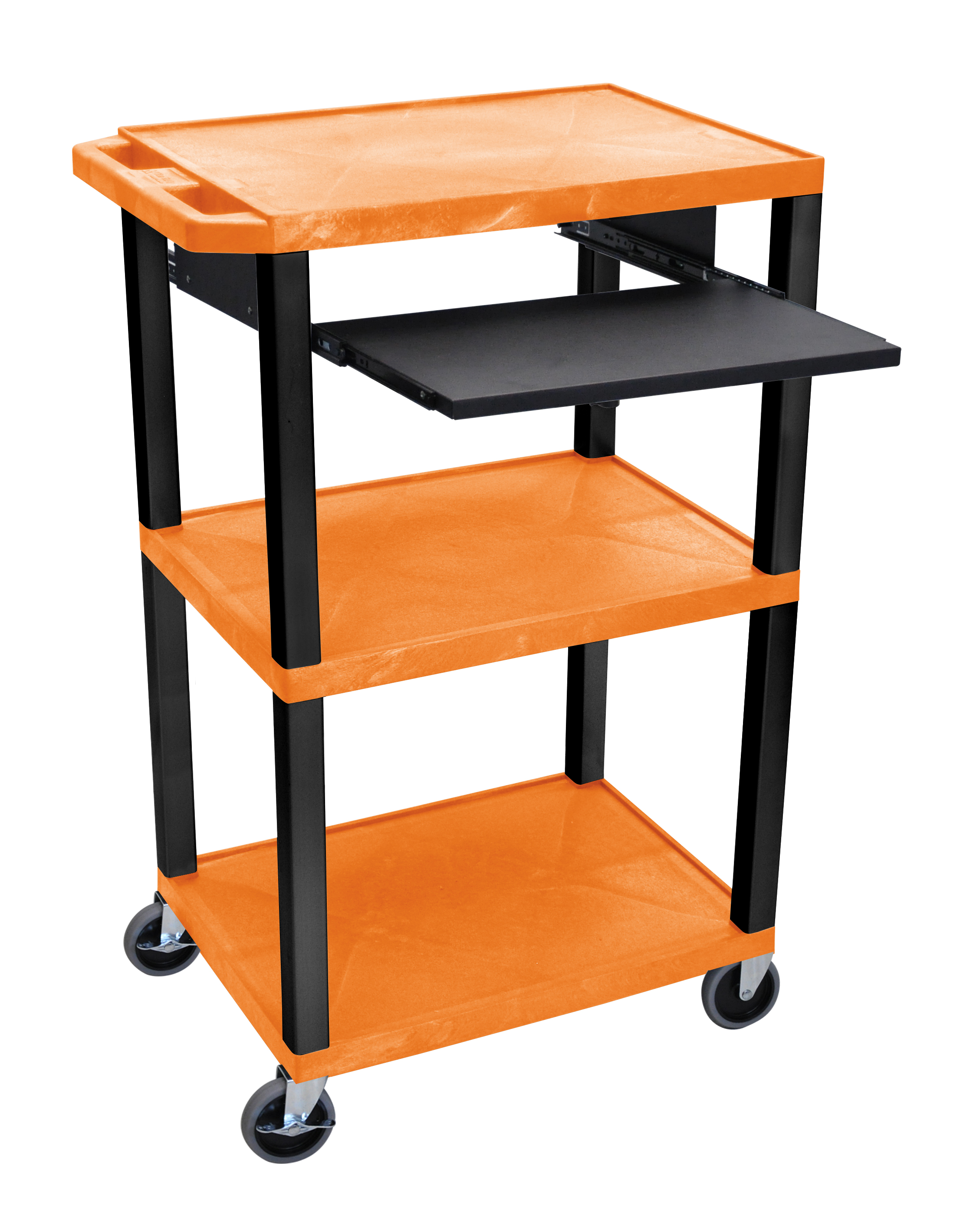 Offex Presentation Cart with Open Shelves and Pull Out Tray Orange and Black