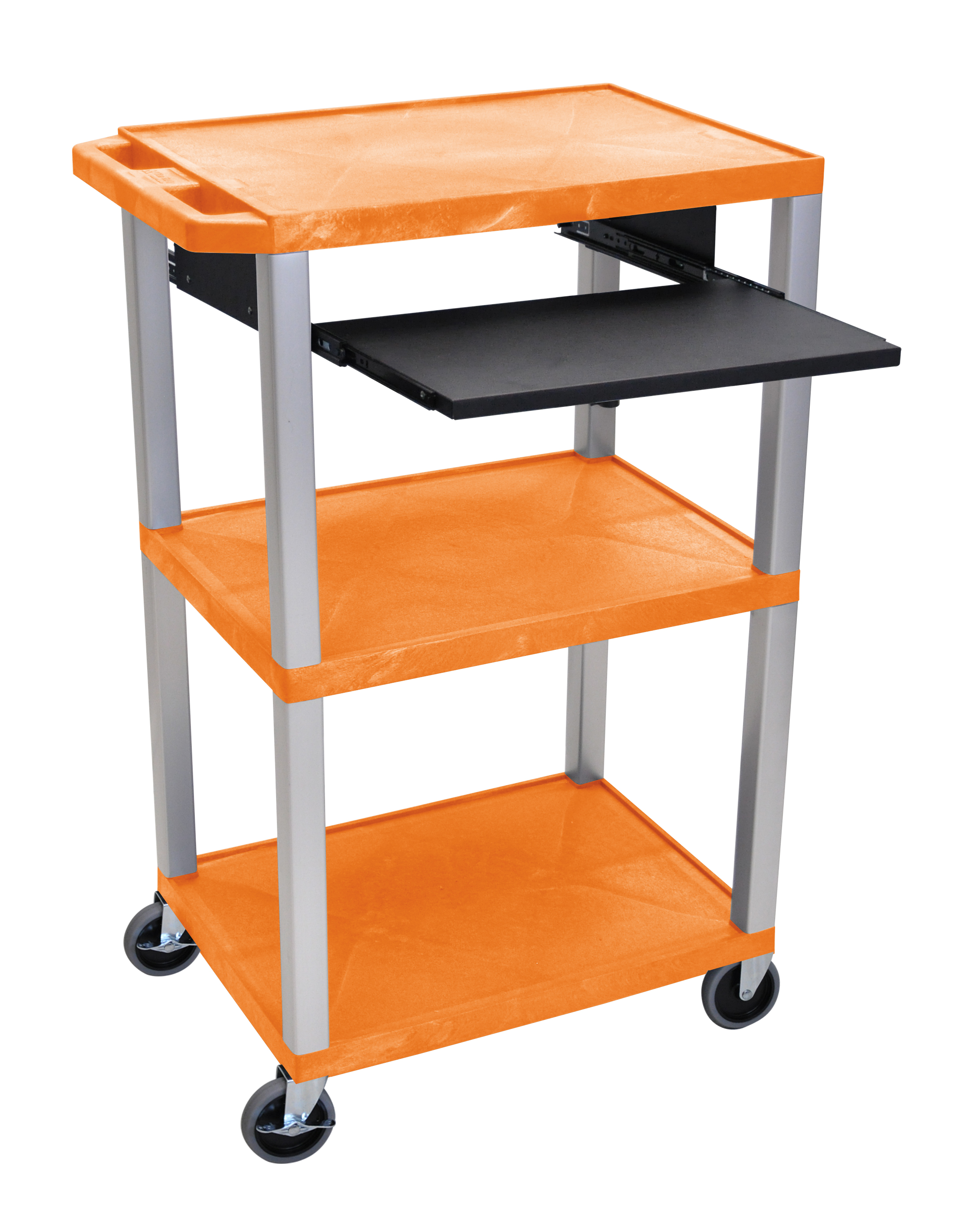 Offex Presentation Cart with Open Shelves and Pull Out Tray Orange and Nickel