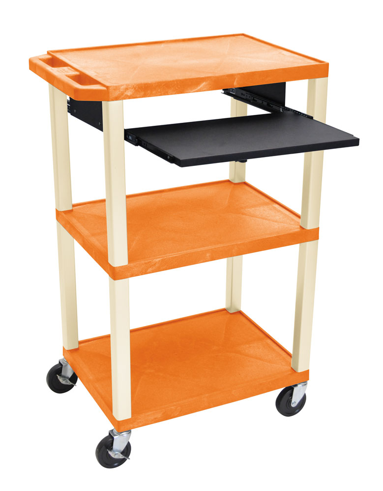 Offex Presentation Cart with Open Shelves and Pull Out Tray Orange and Putty