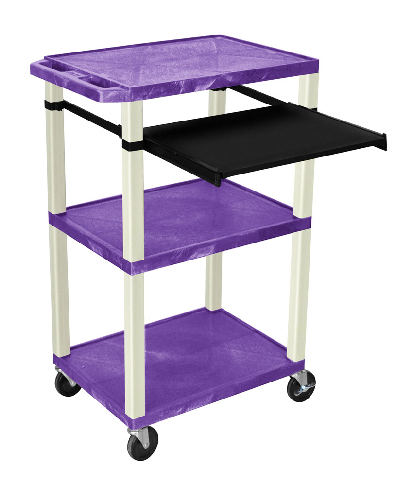 Offex Presentation Cart with Open Shelves and Pull Out Tray Purple and Putty