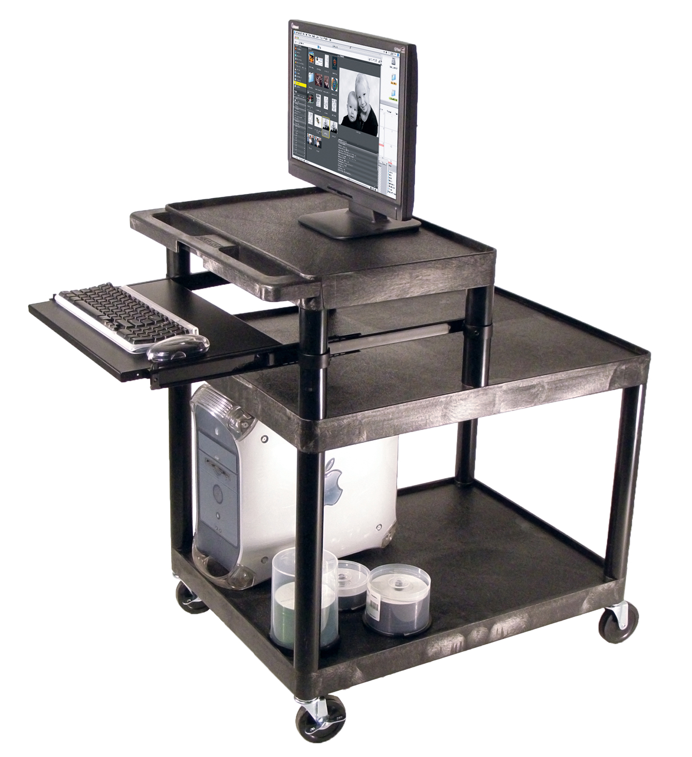 Offex Open Shelf Mobile Workstation with Small Upper Shelf and Pull Out Tray Black and Light Gray