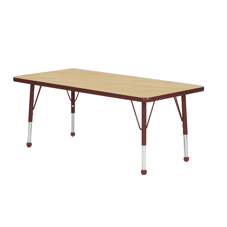 "Mahar 18"" x 36"" Rectangle TableTop Maple Edge Burgundy Leg Ht Toddler 16""-24"" Glide Ball at Sears.com"