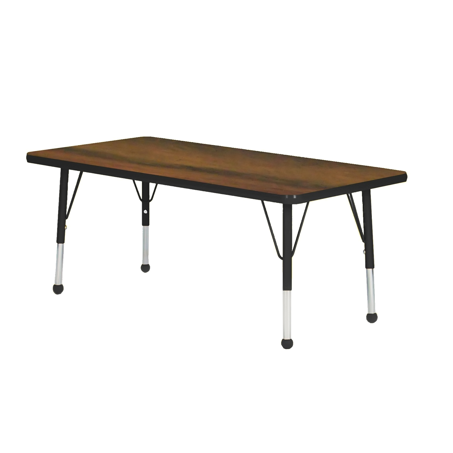 """Mahar 30"""" x 60"""" Rectangle Table Top Color: Walnut Edge Color: Tan Leg Height: Toddler 16""""-24"""" Glide Style: Self-leveling nickel at Sears.com"""