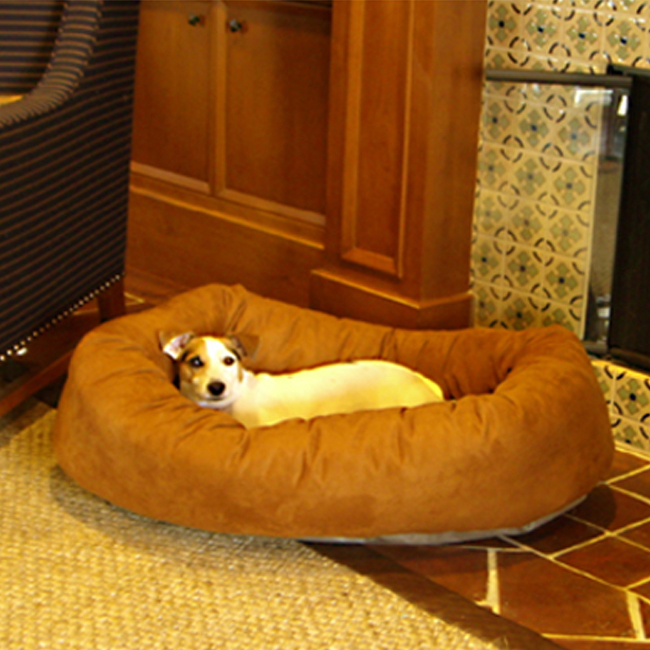 Majestic Pet 40-Inch Micro Suede Waterproof Bagel Dog Bed - Rust at Sears.com