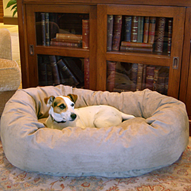 Majestic Pet 40-Inch Micro Suede Waterproof Bagel Dog Bed - Stone at Sears.com