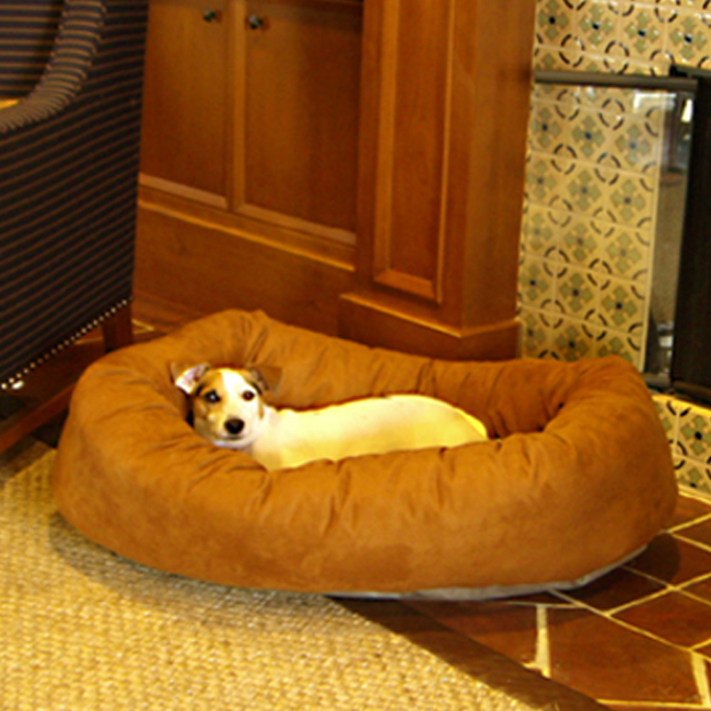 Majestic Pet 52-Inch Micro Suede Waterproof Bagel Dog Bed - Rust at Sears.com