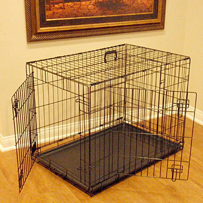 Majestic Pet 36 Inch Medium Heavy Duty Portable Double Door Folding Steel Dog Crate Kennel Cage - Black at Sears.com