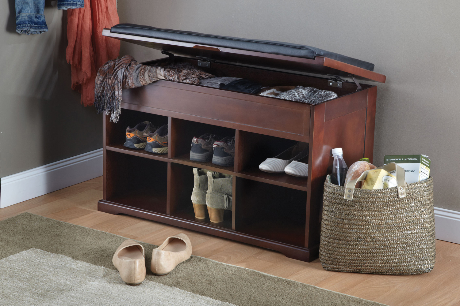 Merry products wooden shoe organizer storage bench with cushion mahogany finish ebay Shoe storage bench with cushion