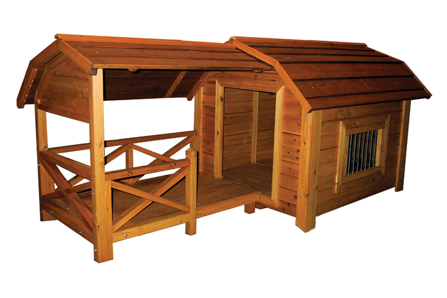Outdoor Comfort Barn Pet Dog House With Porch Roof And Windows Large