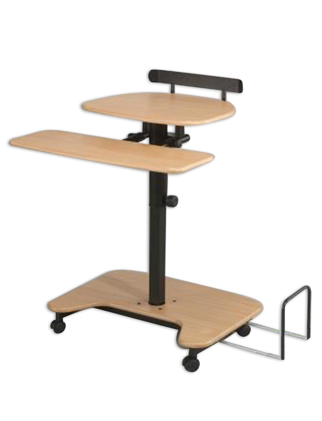 Balt Adjustable Pneumatic Sit/Stand Computer Hi Hi Lo-3 Workstation Teak