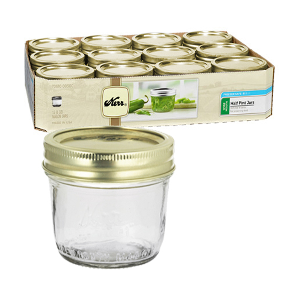 ball mason jars wide mouth half pint with lids and bands case of 12 ebay. Black Bedroom Furniture Sets. Home Design Ideas