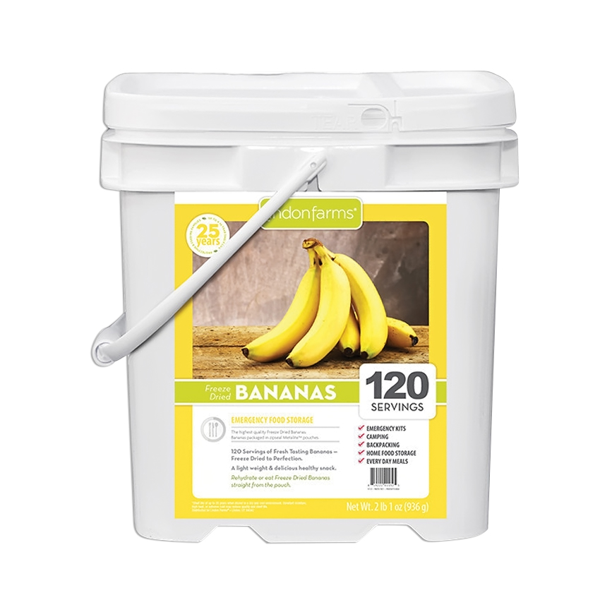 Lindon Farms 120 Servings Freeze Dried Bananas Snack Meal Earthquake Evacuation Disaster Preparedness Longterm Food Storage Bucket