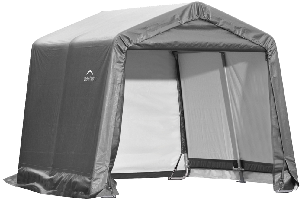 "Shelter Logic 10x10x8 Feet Outdoor Travel Peak Style Storage Shed 1-3/8"" Frame Grey Cover at Sears.com"