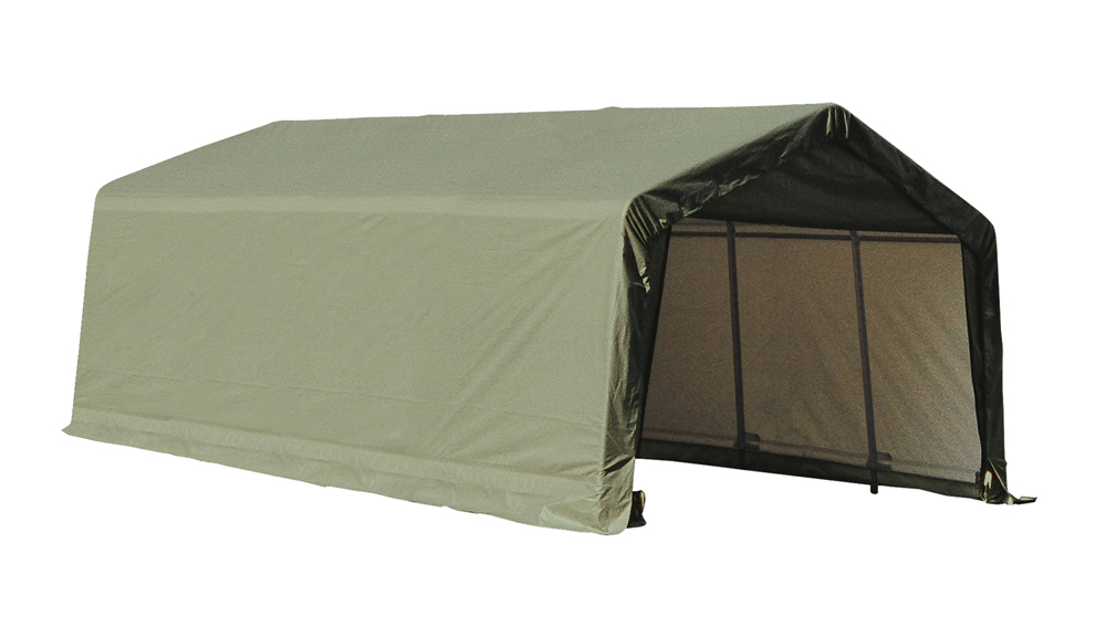 Shelter Logic Outdoor Garage Automotive Boat Car Vehicle Storage Shed 12x20x8 Peak Style Shelter Green Cover at Sears.com