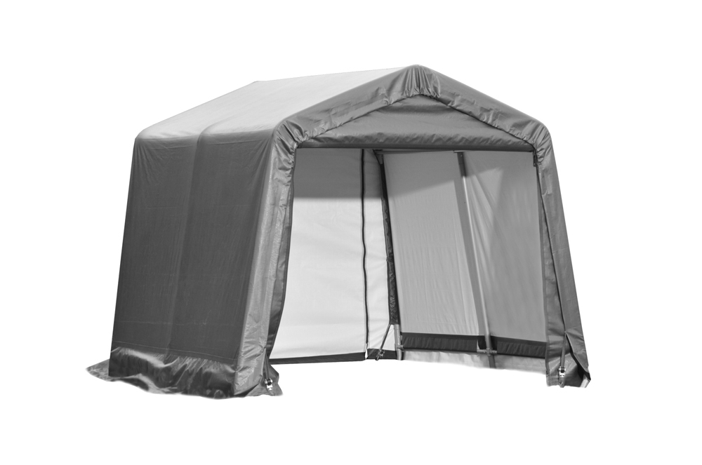 Shelter Logic Outdoor Garage Automotive Boat Car Vehicle Storage Shed 11x8x10 Peak Style Shelter Grey Cover at Sears.com