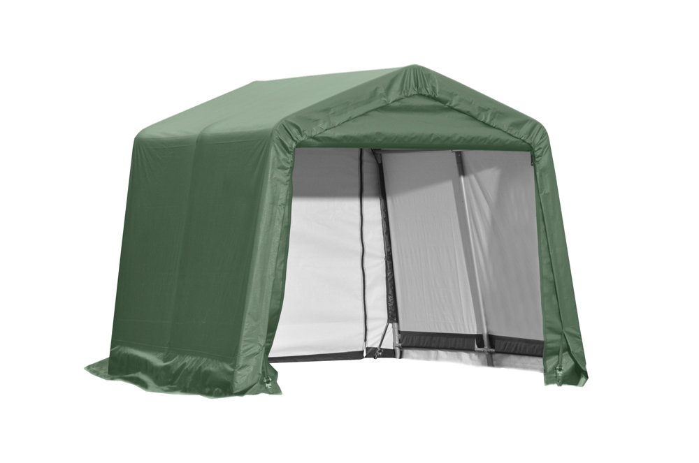 Shelter Logic Outdoor Garage Automotive Boat Car Vehicle Storage Shed 11x8x10 Peak Style Shelter Green Cover at Sears.com