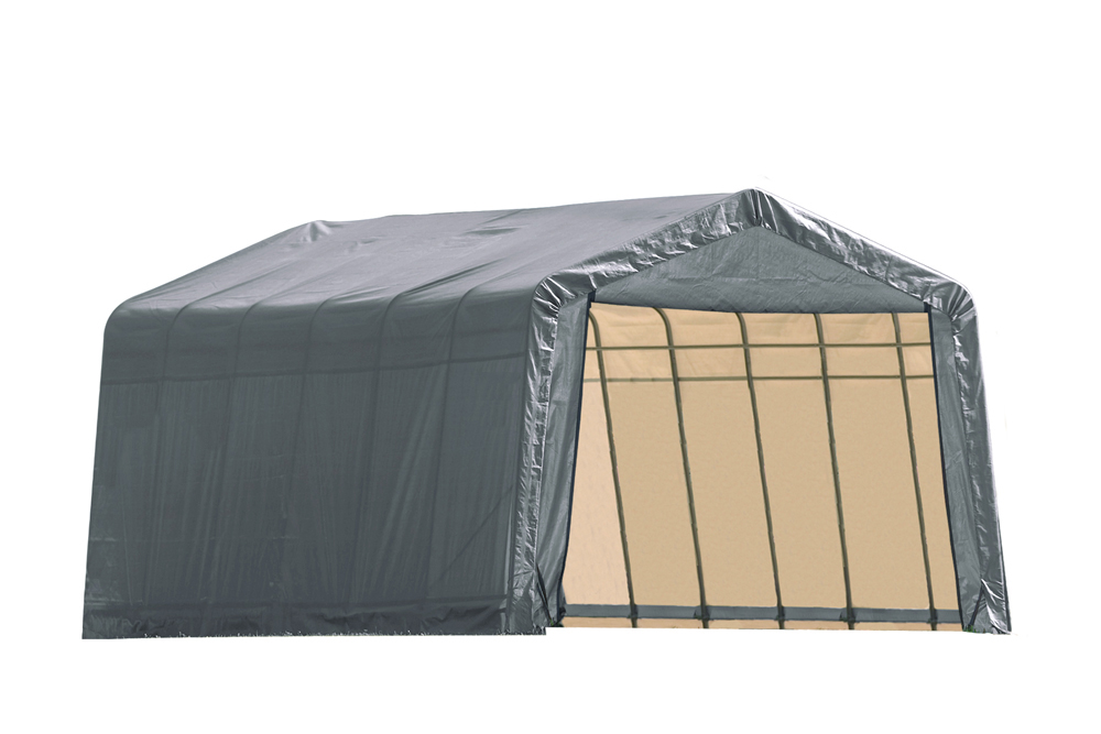 Shelter Logic Outdoor Garage Automotive Boat Car Vehicle Storage Shed 12x28x8 Peak Style Shelter Grey Cover at Sears.com