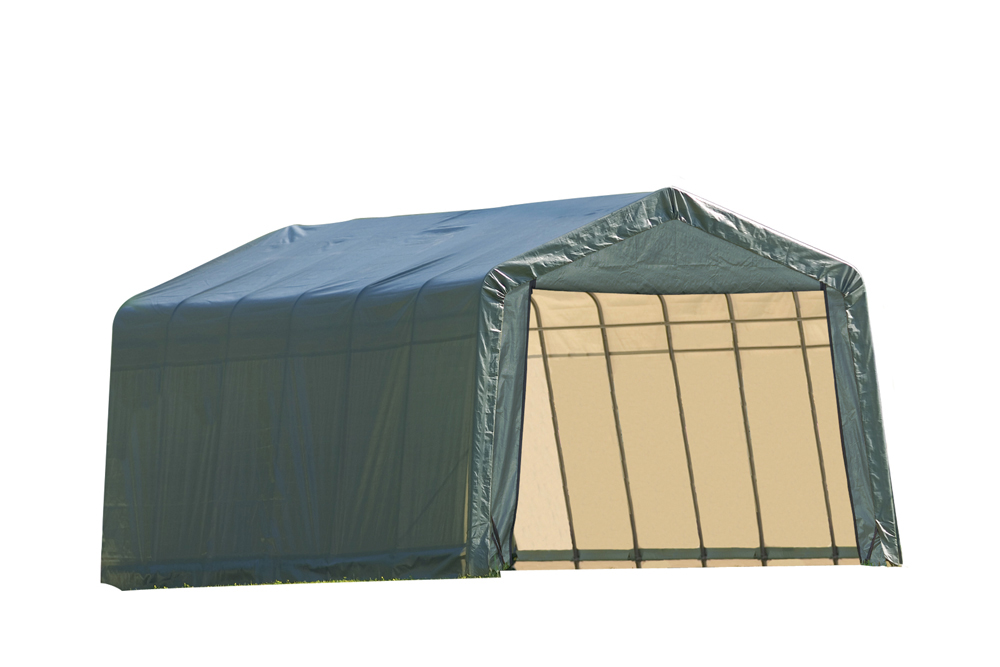 Shelter Logic Outdoor Garage Automotive Boat Car Vehicle Storage Shed 12x28x8 Peak Style Shelter Green Cover at Sears.com