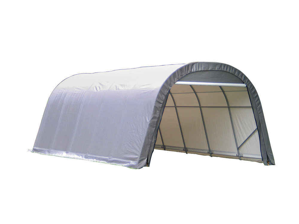 Shelter Logic Outdoor Garage Automotive Boat Car Vehicle Storage Shed 12x28x8 Round Style Shelter Grey Cover at Sears.com