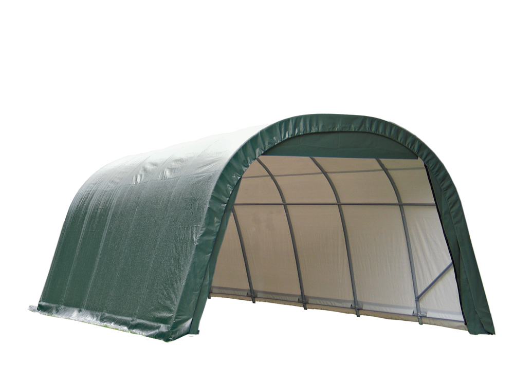 Shelter Logic Outdoor Garage Automotive Boat Car Vehicle Storage Shed 12x28x8 Round Style Shelter Green Cover at Sears.com