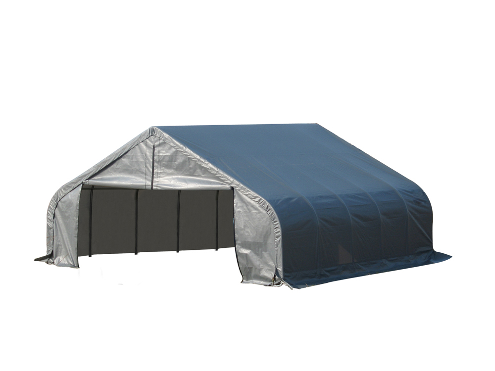 Shelter Logic Outdoor Garage Automotive Boat Car Vehicle Storage Shed 18x24x10 Peak Style Shelter Grey Cover at Sears.com