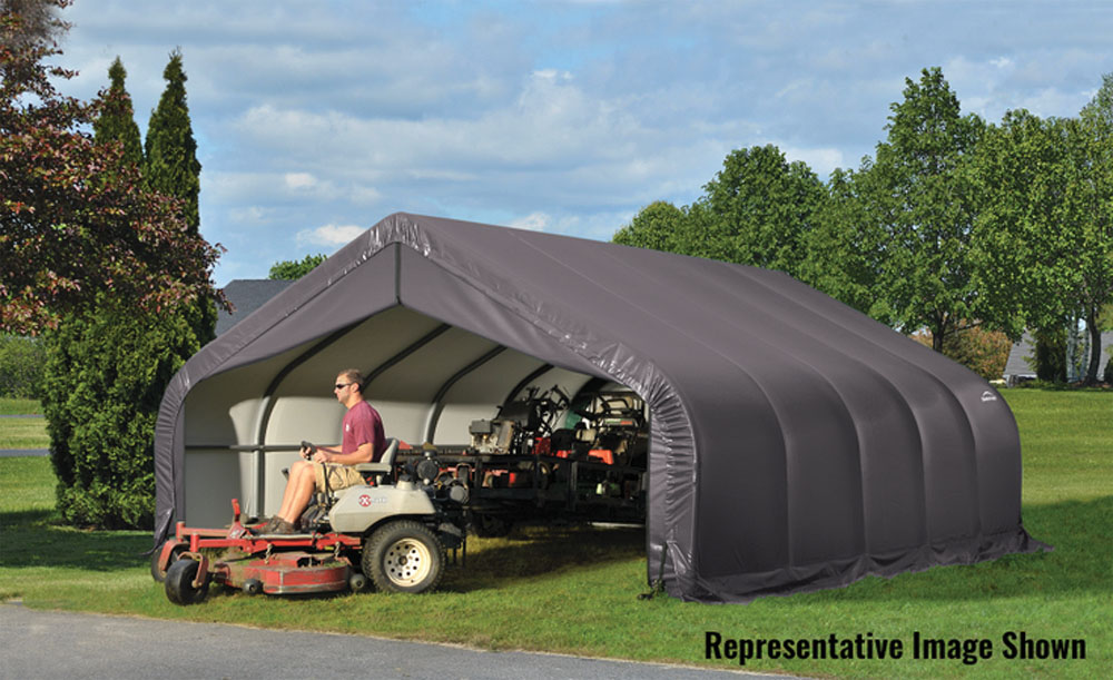 Shelter Logic Outdoor Garage Automotive Boat Car Vehicle Storage Shed 18x28x10 Peak Style Shelter Grey Cover at Sears.com