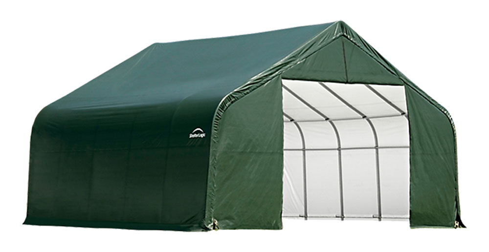 Shelter Logic Outdoor Garage Automotive Boat Car Vehicle Storage Shed 18x28x10 Peak Style Shelter Green Cover at Sears.com