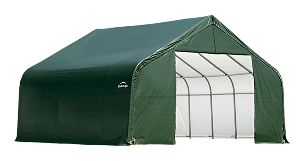 Shelter Logic Outdoor Garage Automotive Boat Car Vehicle Storage Shed 18x20x12 Peak Style Shelter Green Cover at Sears.com