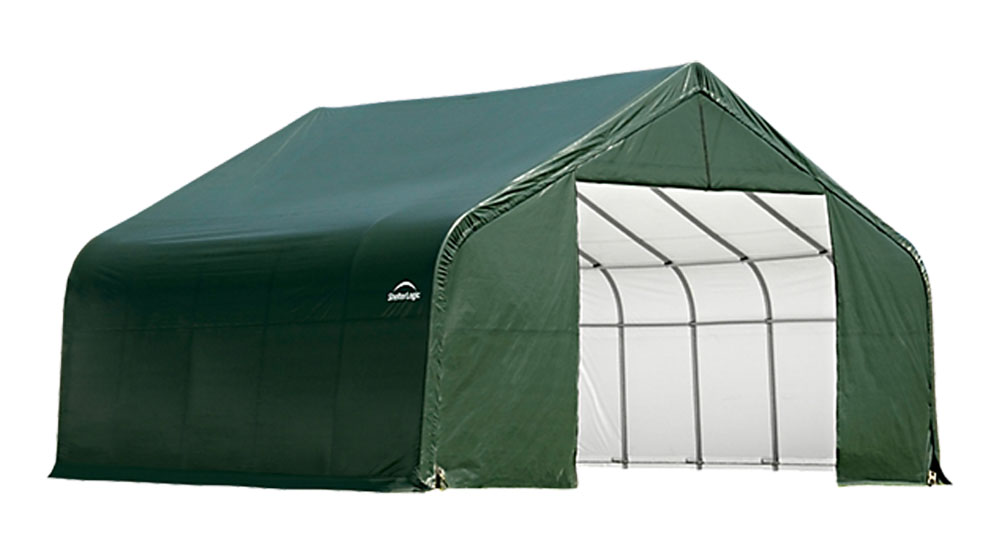 Shelter Logic Outdoor Garage Automotive Boat Car Vehicle Storage Shed 18x24x12 Peak Style Shelter Green Cover at Sears.com