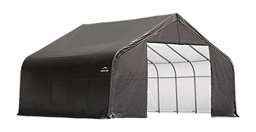 Shelter Logic Outdoor Garage Automotive Boat Car Vehicle Storage Shed 18x28x12 Peak Style Shelter Grey Cover at Sears.com