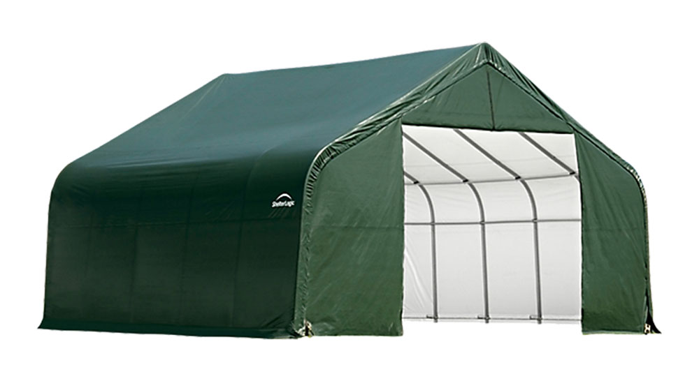 Shelter Logic Outdoor Garage Automotive Boat Car Vehicle Storage Shed 18x28x12 Peak Style Shelter Green Cover at Sears.com